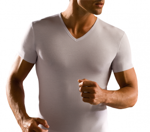 Stretch Cotton V neck T-Shirt Cagi